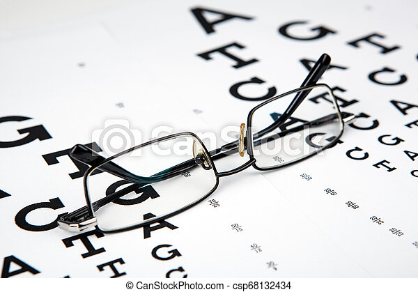 eyeglasses on the table with a font to determine of eyesight English version - csp68132434