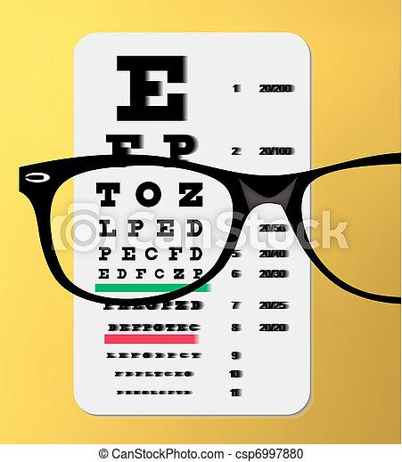 Vector Illustration Of Eyeglasses Over Snellen Eye Chart