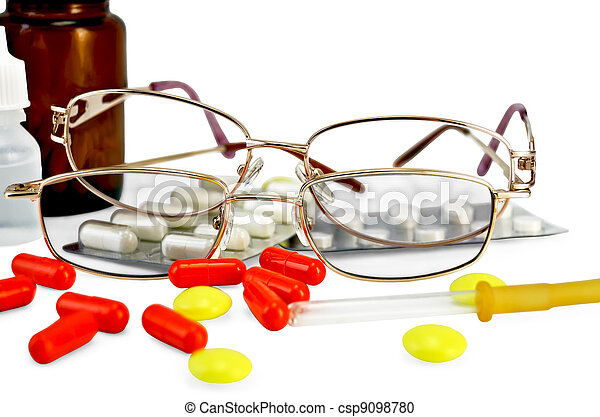 Eyeglasses with medications - csp9098780