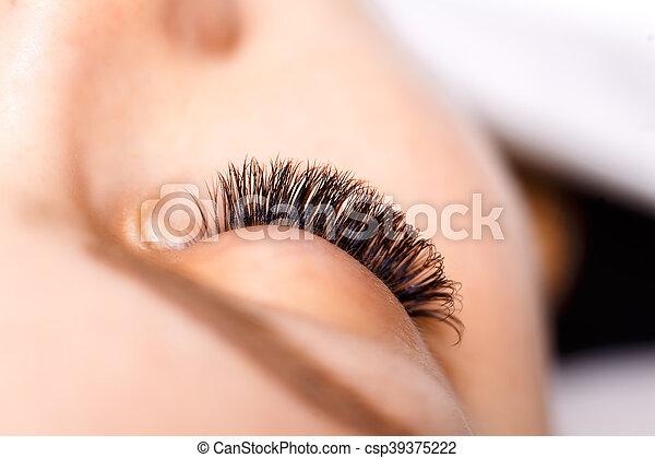 Eyelash Extension Procedure. Woman Eye with Long Eyelashes - csp39375222
