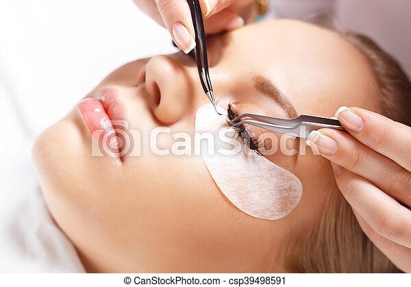 Eyelash Extension Procedure. Woman Eye with Long Eyelashes. Lashes, close up, selected focus. - csp39498591
