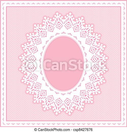 Eyelet Lace Frame, Pastel Pink - csp8427676