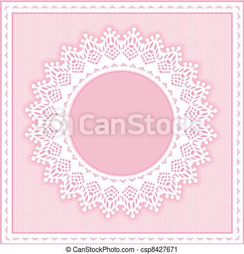 Eyelet Lace Frame, Pastel Pink - csp8427671