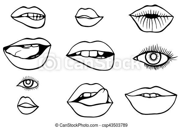 eyes and lips icons set - csp43503789