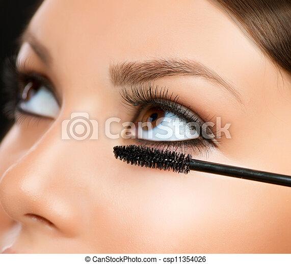eyes, applying., makeup, mascara, make-up, closeup. - csp11354026