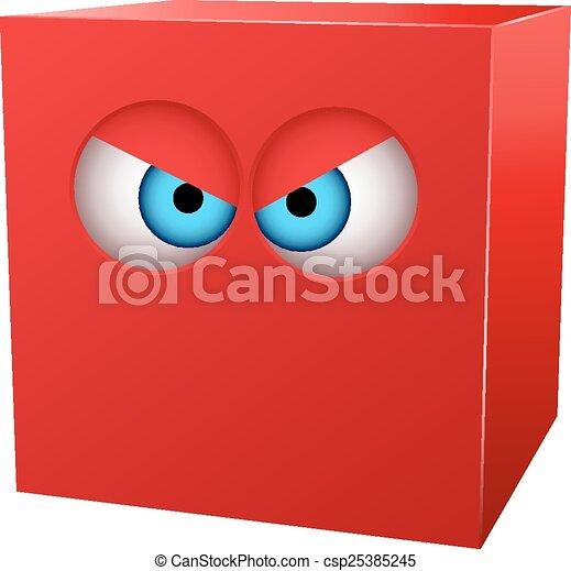 eyes., cube, tridimensionnel, rouges - csp25385245