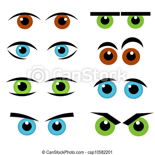 eyes emotion collection set of various funny eyes vector rh canstockphoto com