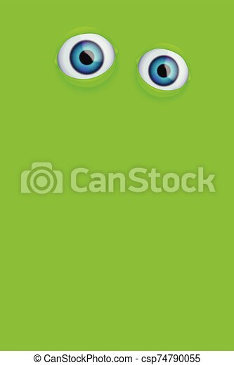 eyes on green background - csp74790055