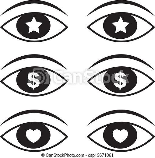 Eyes Symbols 1 Eyes With Various Symbols Set 1