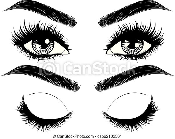 Eyes with long eyelashes and brows - csp62102561