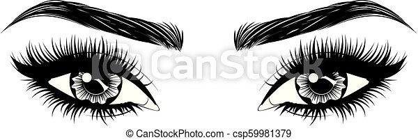 Eyes with long eyelashes and brows - csp59981379