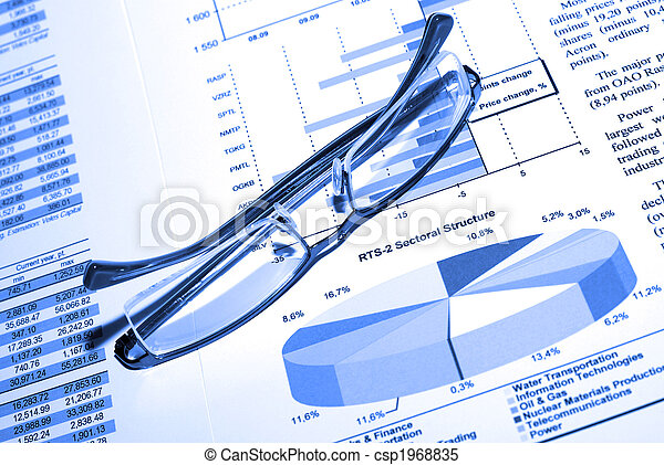 Eyewear and printed srock report. Business concept. - csp1968835