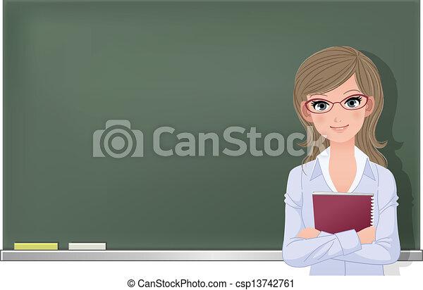 eyewear, lunettes, prof, femme - csp13742761