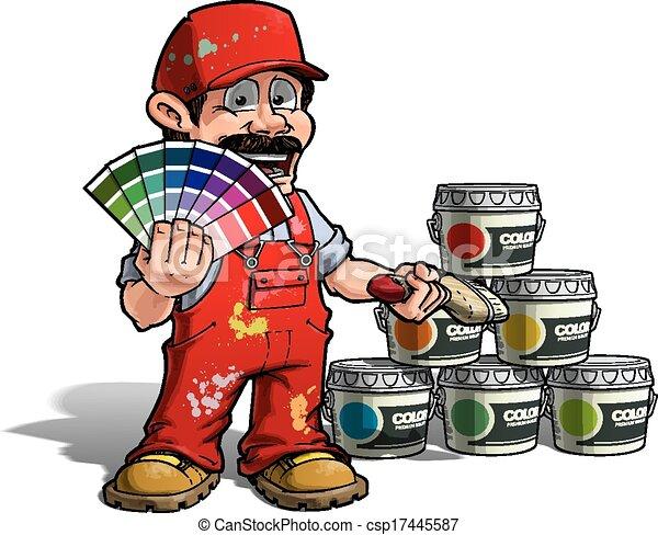 ezermester, arcszín, -, egyenruha, szobafestő, feltörés, piros - csp17445587