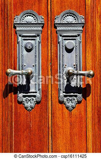 fából való, öreg, bán, ajtó - csp16111425