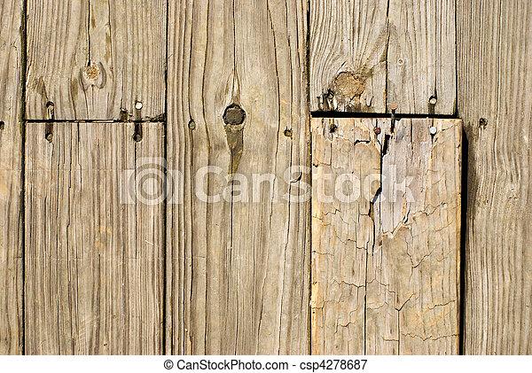 fából való, grunge, körmök, öreg, emelet - csp4278687