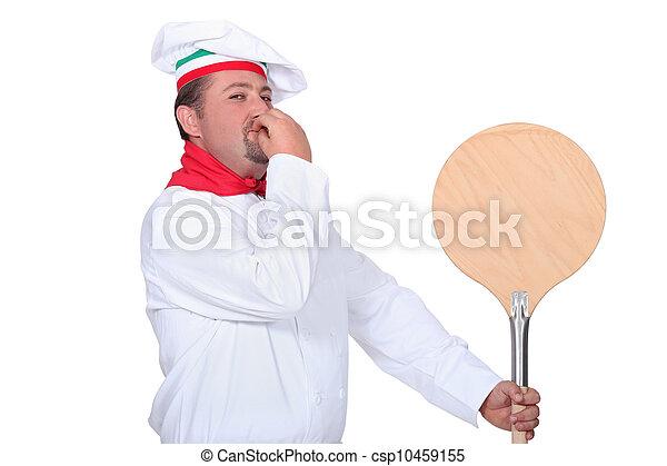 fából való, séf, hámlik, pizza - csp10459155