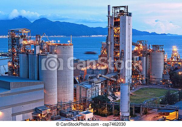 fábrica, cimento, noturna - csp7462030