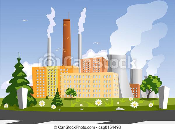 fábrica, vetorial, ilustração - csp8154493
