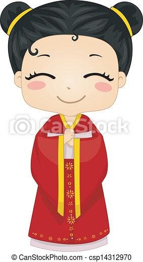 fárasztó, kevés, kínai, cheongsam, nemzeti, jelmez, leány - csp14312970