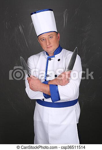 fárasztó, séf, workwear, kés, birtok - csp36511514