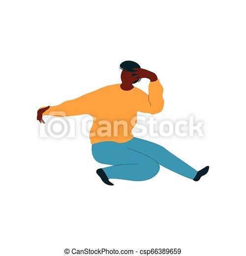 fárasztó, tánc, táncos, betű, fiatal, ábra, amerikai, vektor, ember, african hím, kényelmes felöltöztet - csp66389659