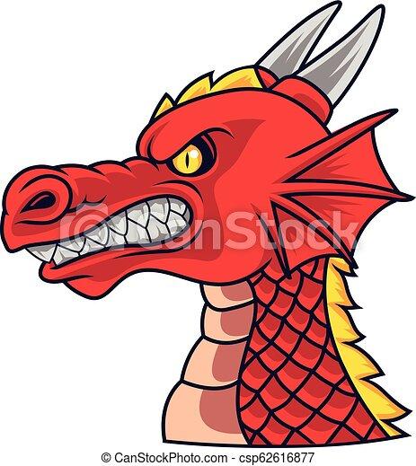 Fache Dragon Tete Mascotte Tete Fache Illustration Dragon