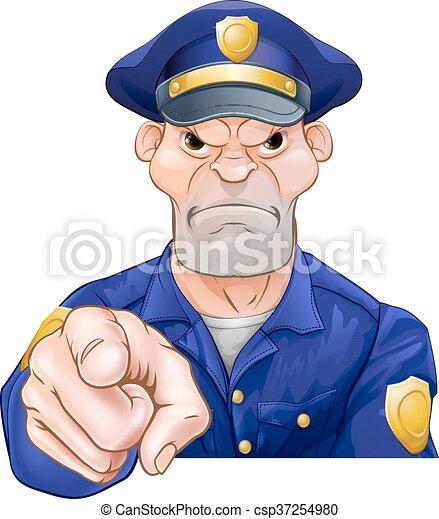 fâché, pointage, policier - csp37254980