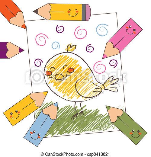 Färben bleistift, vogel, zeichnung. Bleistift, stil, farbe ...