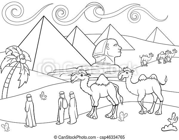 Färbung, ägypten, vektor, pyramiden, kinder,... Clipart Vektor ...