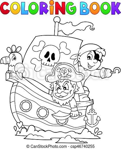 Färbung, 1, thema, buch, piratenschiff. Färbung,... Clipart Vektor ...