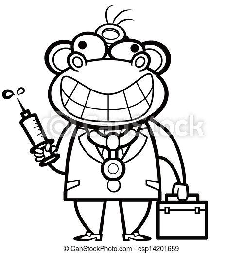 Färbung, affe, doktor, satz, spritze, hilfe, karikatur, zuerst ...