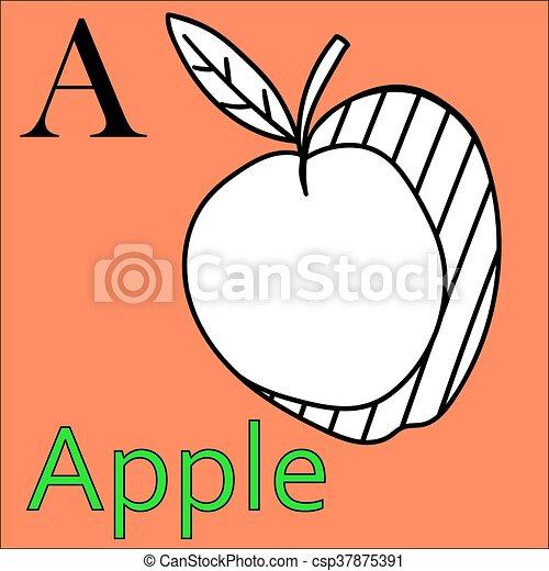 Färbung, alphabet., apfel, a., vektor, brief, buch. Schöne ,... EPS ...