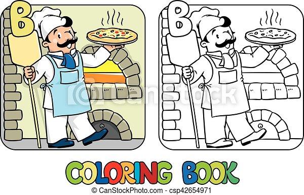 Färbung, alphabet, bäcker, beruf, book., b, abc. Vektor,... Vektoren ...