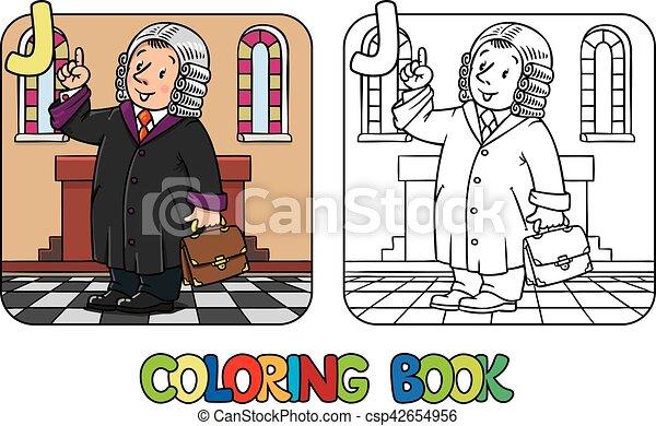 Färbung, alphabet, beruf, book., j., abc, rechtsprechung.... Clipart ...