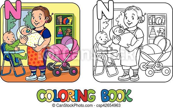 Färbung, alphabet, book., n, kindermädchen, kinder. Vektor, lustiges ...