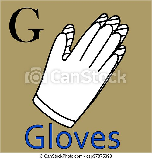 Färbung, alphabet., g, vektor, handschuhe, letter., buch.... EPS ...
