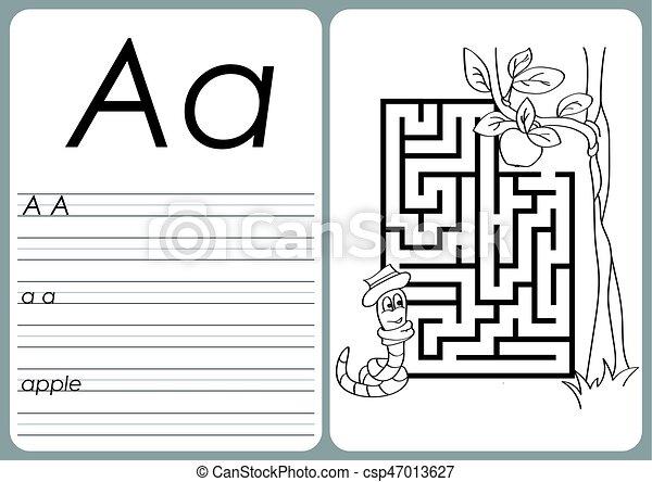Färbung, alphabet, puzzel, -, ein-z, arbeitsblatt, buch.... Vektor ...