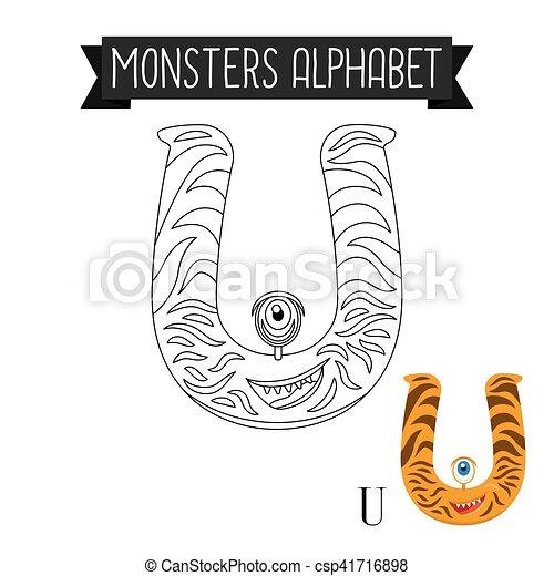 Färbung, alphabet, seite, u, brief, monster. Färbung,... EPS ...