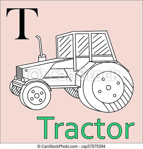Färbung, alphabet., vektor, t, letter., buch, traktor.... EPS ...