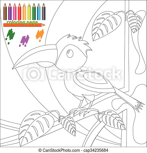 Färbung, baum, vogel, seite, kinder. Färbung, kinder, baum, seite ...