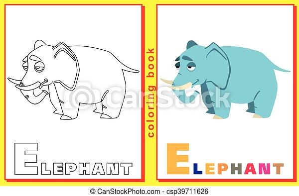 Färbung, bild, letters., vektor, elephant., kinder Vektor ...