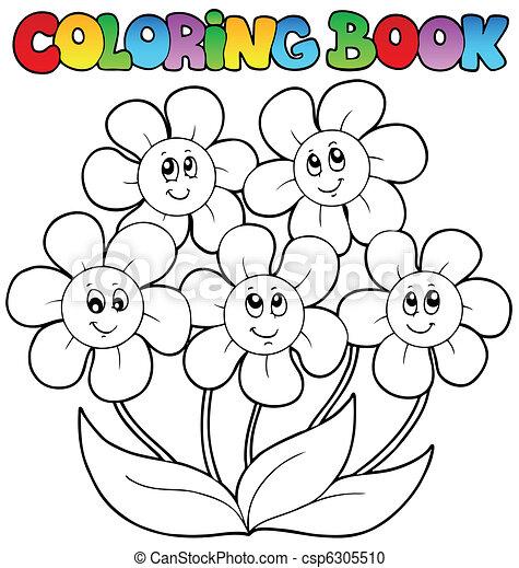 Färbung, blumen, fünf, buch. Färbung, illustration., -,... Vektor ...