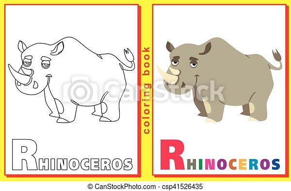 Färbung, briefe, kinder, bild, rhinoceros., words., abfall ...