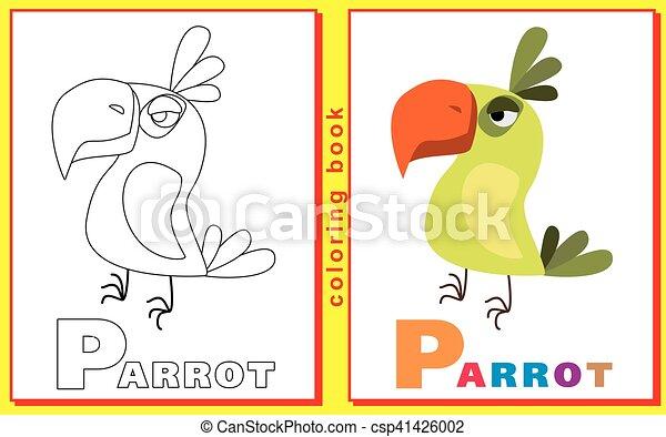 Färbung, briefe, kinder, parrot., bild, words., abfall,... Vektor ...