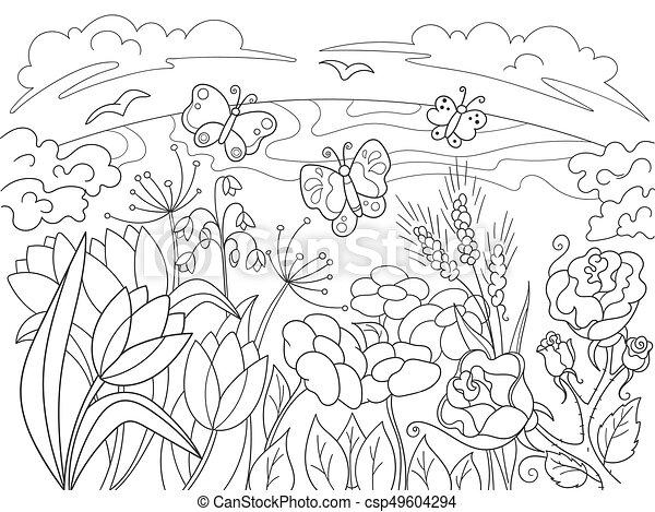 Färbung, childrens, nature., lichtung, blumen, karikatur.... EPS ...