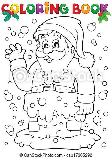 Farbbuch Weihnachtsmann Thema 9 - csp17305292