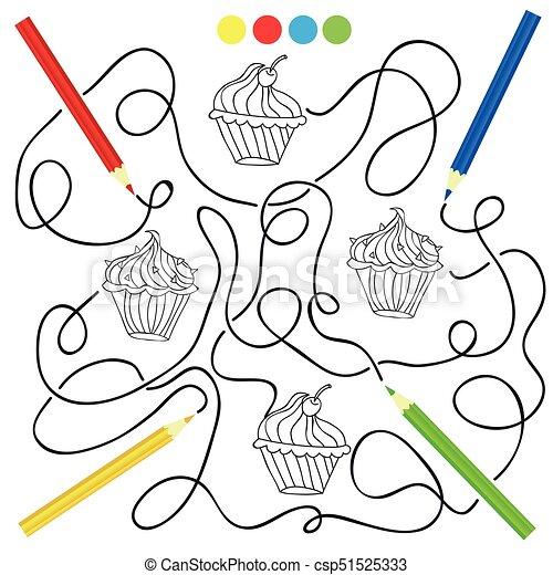 Färbung, cupcake, spiel, zeichnung, kinder, seite. Färbung ...