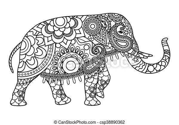 Färbung, elefant, indische , schablone, seiten. Vektor,... Clipart ...