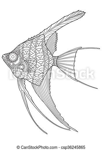 Färbung, engel fische, hand, gezeichnet, seite. Fische,... Clipart ...